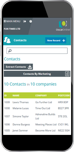 Mobile display showing OscarOnline free contact database snippet