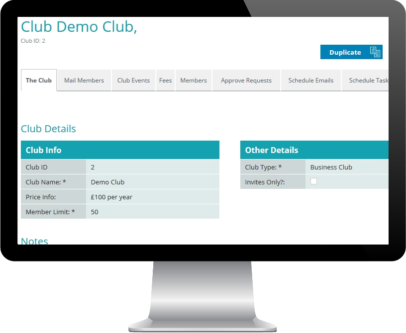 PC Display showing OscarOnline club management screen snippet