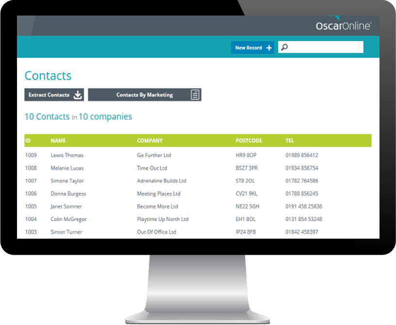 PC Display showing OscarOnline free contact database snippet